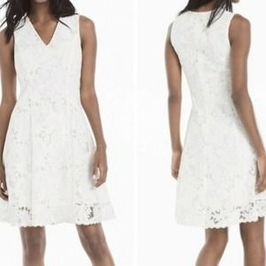 WHBM White Lace V Neck Fit & Flare Dress New 2
